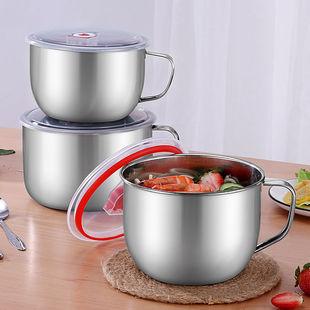 不锈钢泡面碗带盖汤面碗学生饭盒食堂打饭碗快餐方便面杯带筷勺