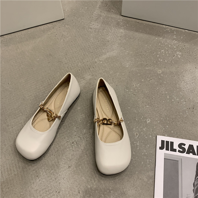 French flat bottom shallow mouth single shoes womens shoes 2021z new spring and summer soft bottom with Skirt Ballet grandma ladle
