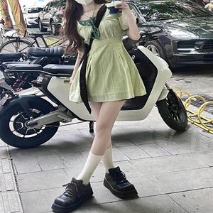 绿色假两件碎花棉麻娃娃连衣裙短裙