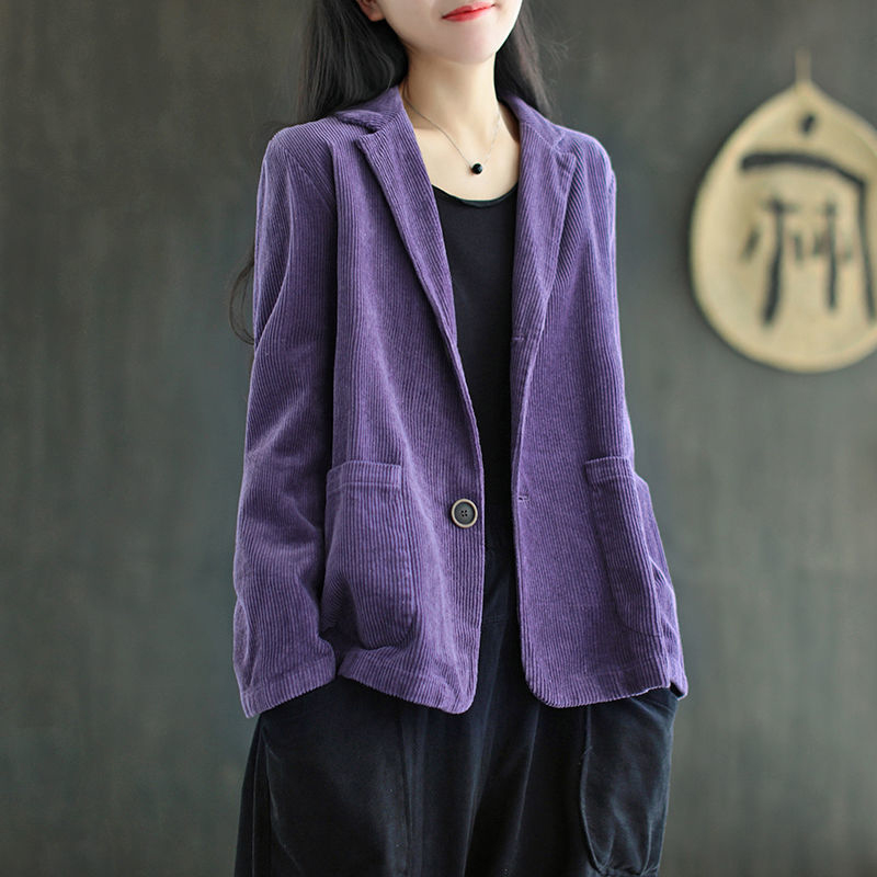 2021 spring and autumn new corduroy suit solid color single breasted womens long sleeve loose retro casual coat fashion
