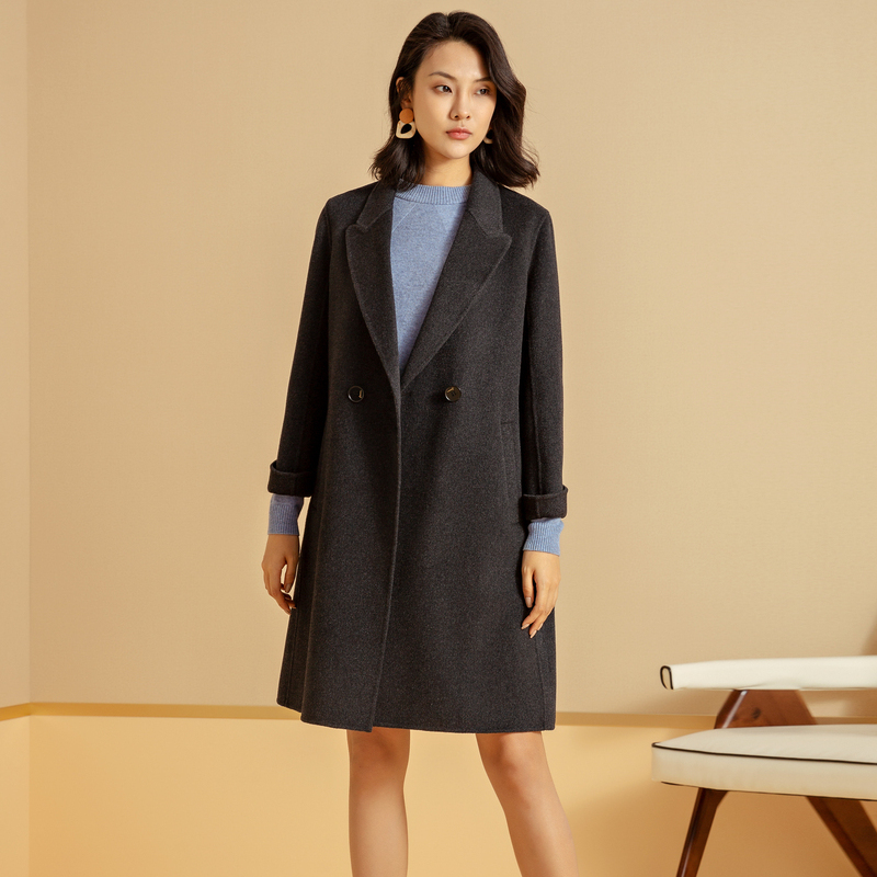 Nalsling womens dark gray wool double faced coat medium length new coat for autumn and winter 2020