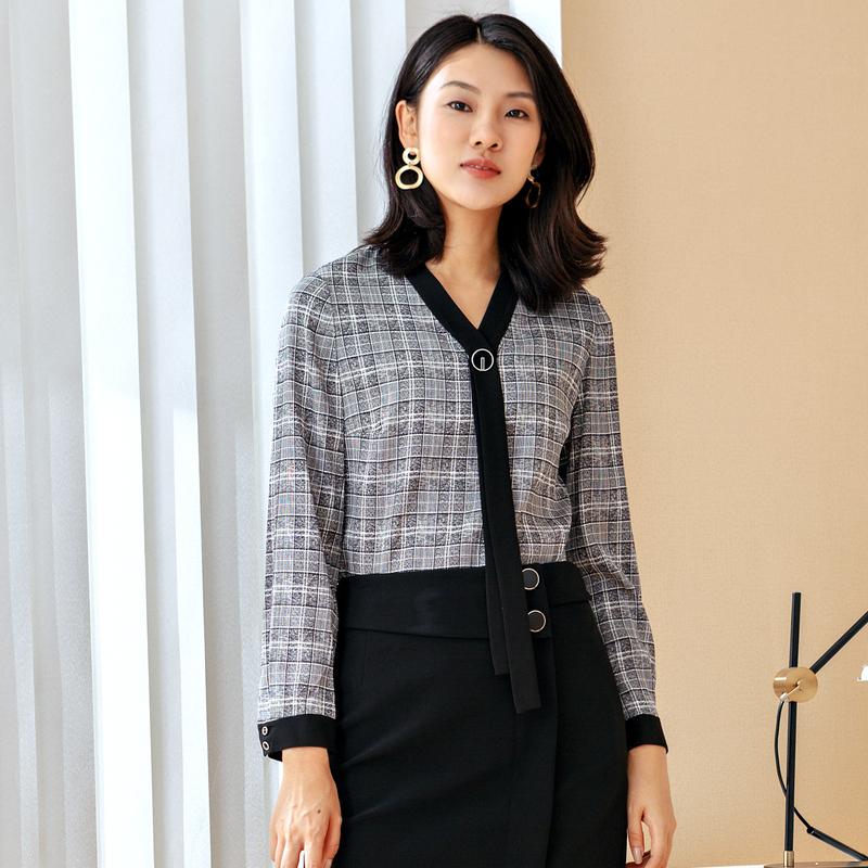娜尔思灵女装灰色格子V领飘带上衣秋新款拼接减龄长袖衬衫