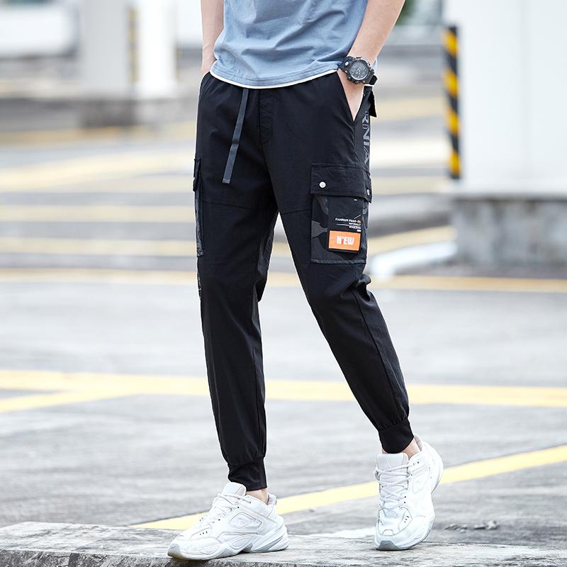 Overalls mens fashion fashion brand necked long pants mens Hong Kong Style loose 2021 spring new mens Capris