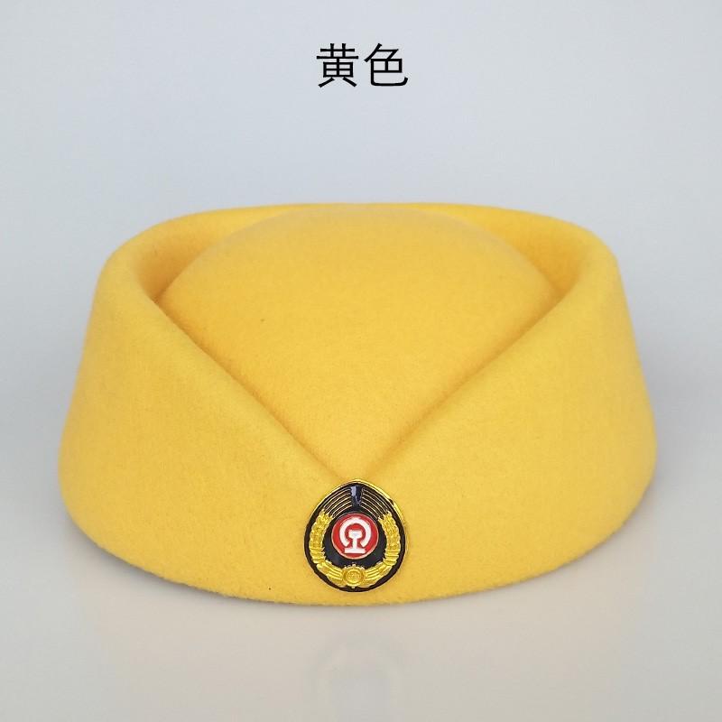 高铁动车乘务员列车员帽子铁路女帽礼仪帽铁路学校学员红色演出帽