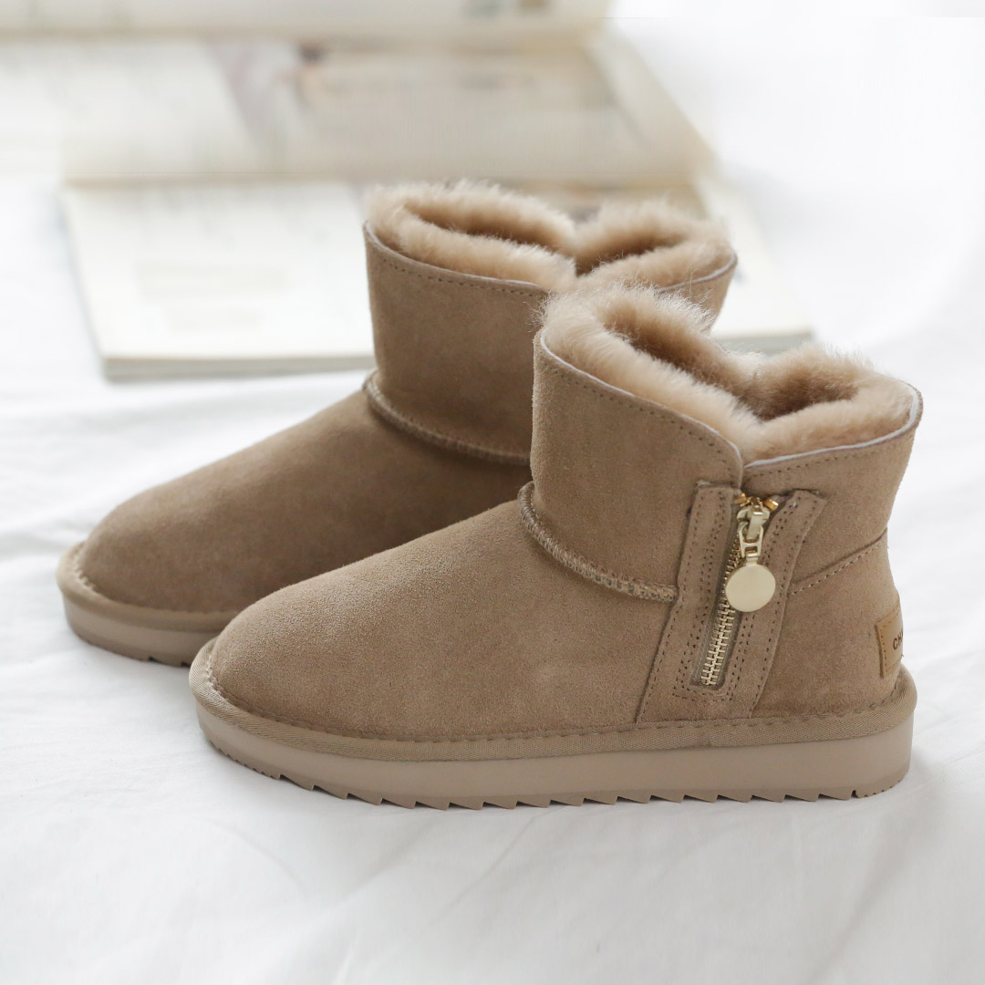 Side zipper snow boots womens short tube 2020 winter new leather wool short boots thickened anti slip cotton shoes snow shoes