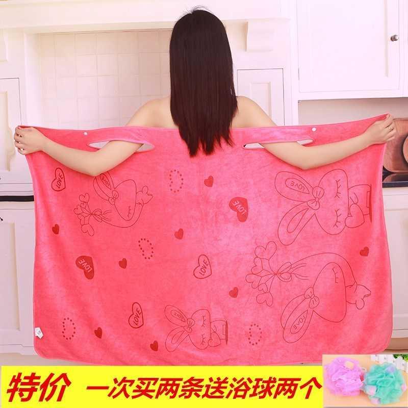 。 Bath dress, bath scarf, bath towel, water absorbing bathrobe, lovely sling bathrobe, sweat steaming