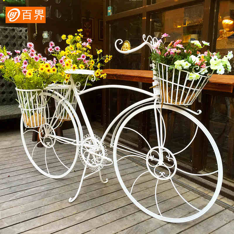 欧米式のアイデアは装飾品の家具の百貨店のショーウィンドウを飾って道具の田園の鉄芸の自転車の花棚を飾ります。