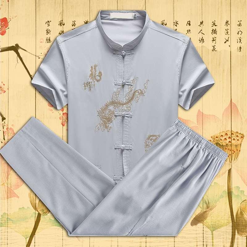 。中老年男士睡衣夏季丝短袖薄款爸爸装唐装中国风男式家居服套