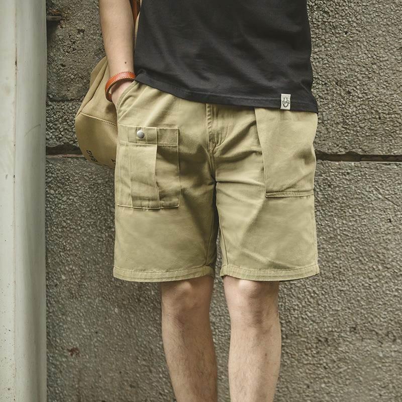 工装男式美式复古纯色大口袋P37工装短裤阿美咔叽休闲五分裤男潮