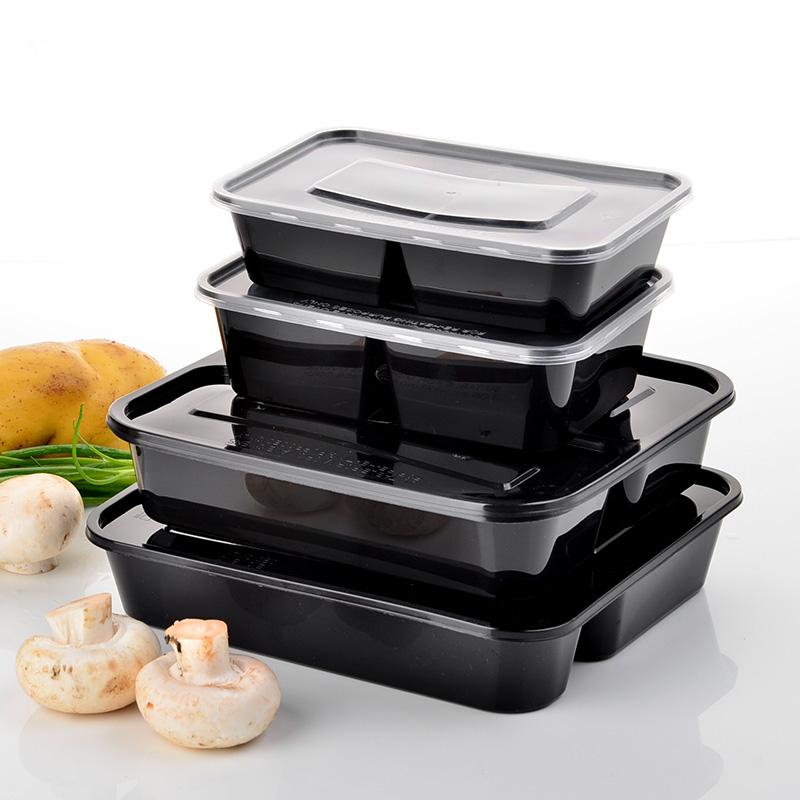 商吉高檔三格塑料打包盒一次性快餐盒四格飯盒外賣便當盒分格帶蓋