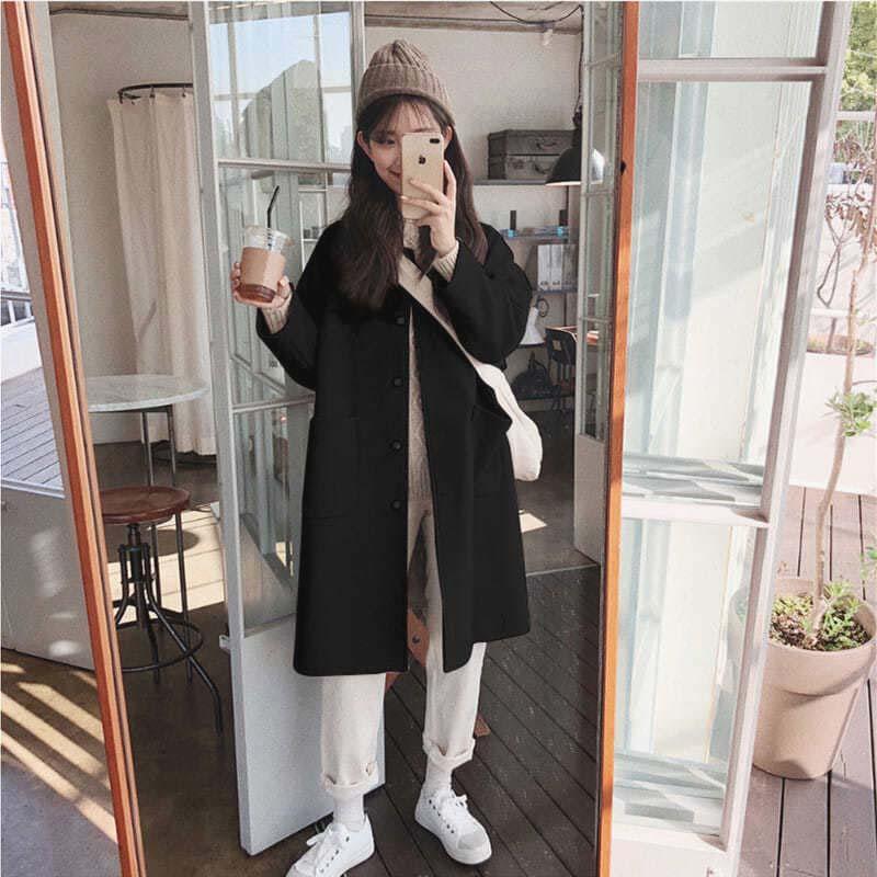 2021秋冬韩版宽松学院风黑色呢子大衣中长款小个子毛呢外套女学生