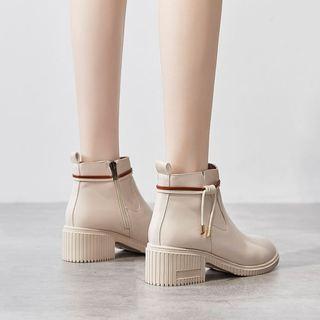 英伦风瘦瘦粗跟马丁靴子2020秋冬季新款高跟短靴加绒棉鞋百搭女鞋