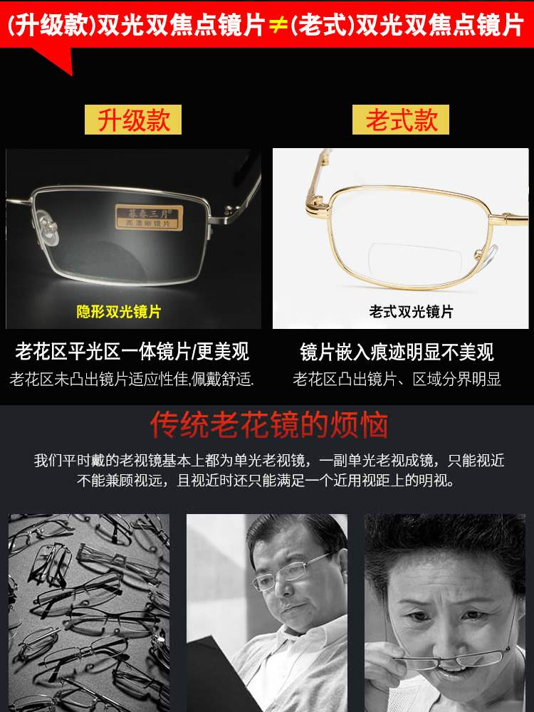 Intelligent multifocal presbyopia glasses for middle-aged and old people