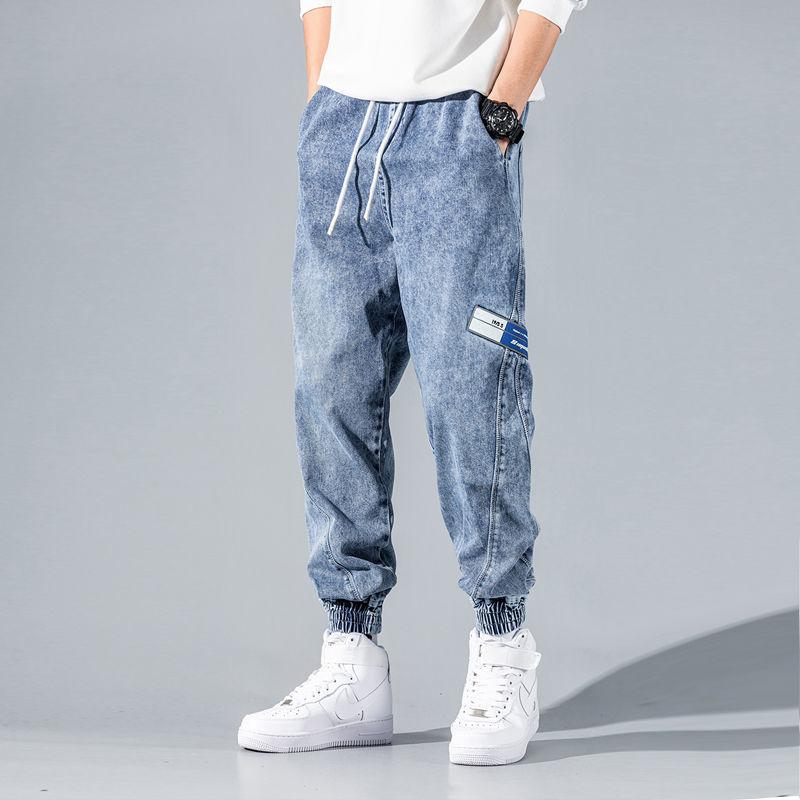 夏季薄款牛仔裤男士潮牌宽松潮流韩版工装束脚百搭网红休闲长裤子