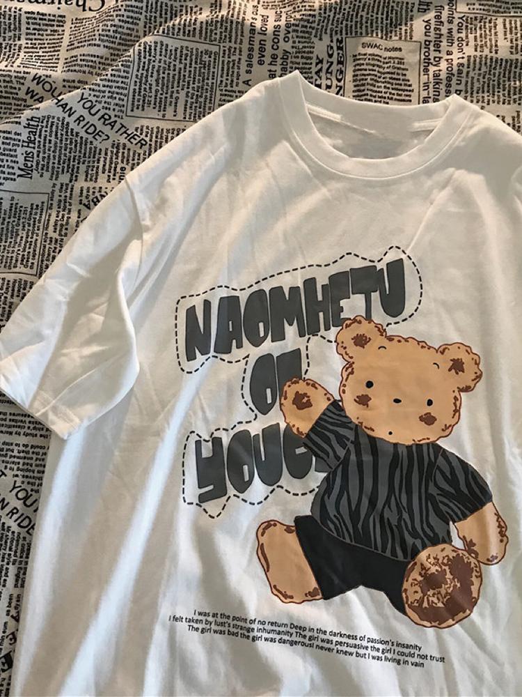 设计感小熊短袖女2021年新款t恤好用吗