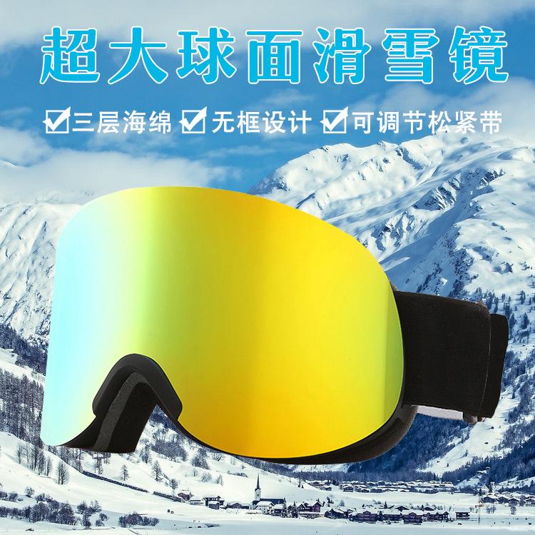 滑雪眼镜 装备护目镜 大柱面双层防雾成人男女可用雪地防护卡近视