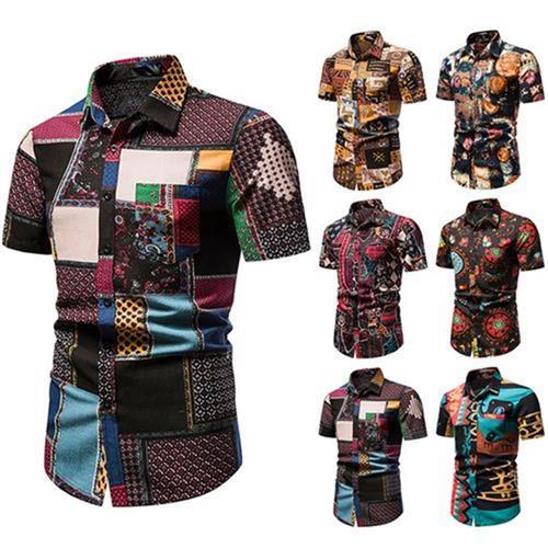 Bohemian national style short sleeve shirt fashion mens Korean tight f-show muscle summer dress floral z-color shirt