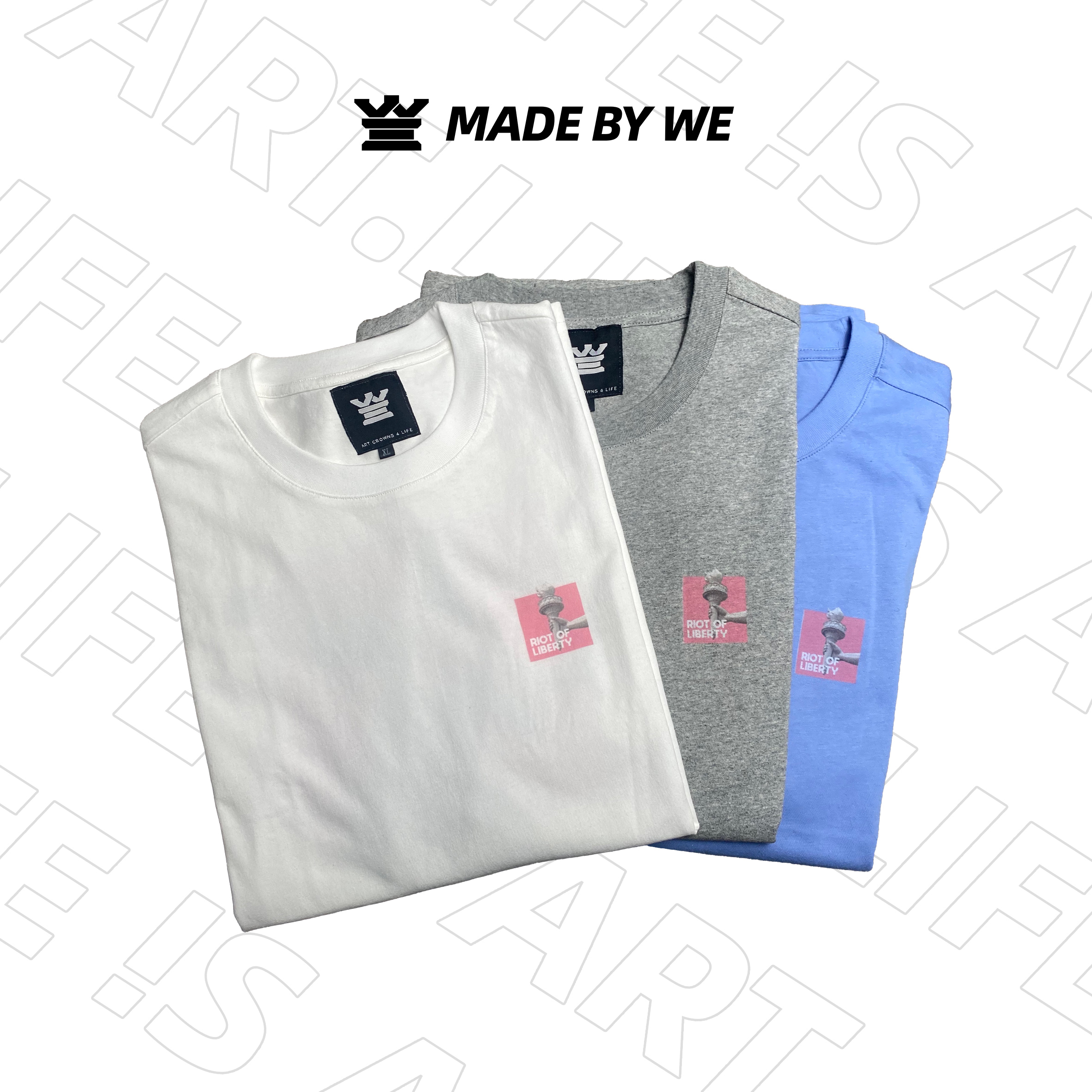 LA2021RIOT新款纯棉圆领短袖原创设计嘻哈街头风自由女神