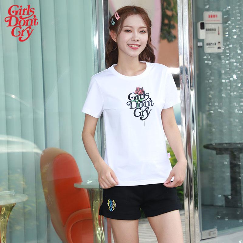 Girls dont cry T-shirt summer cotton super fire letter rose pattern short sleeve bottomed shirt