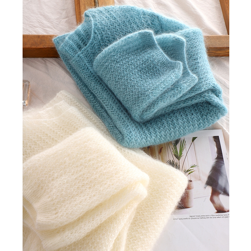 2021 new early autumn temperament hollowed out mohair sweater sweater womens spring and autumn thin lazy top