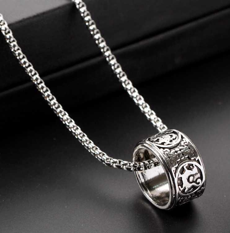 Personality fashion hip hop Ring Necklace mens and womens Retro pendant lovers punk trend ring accessories rock