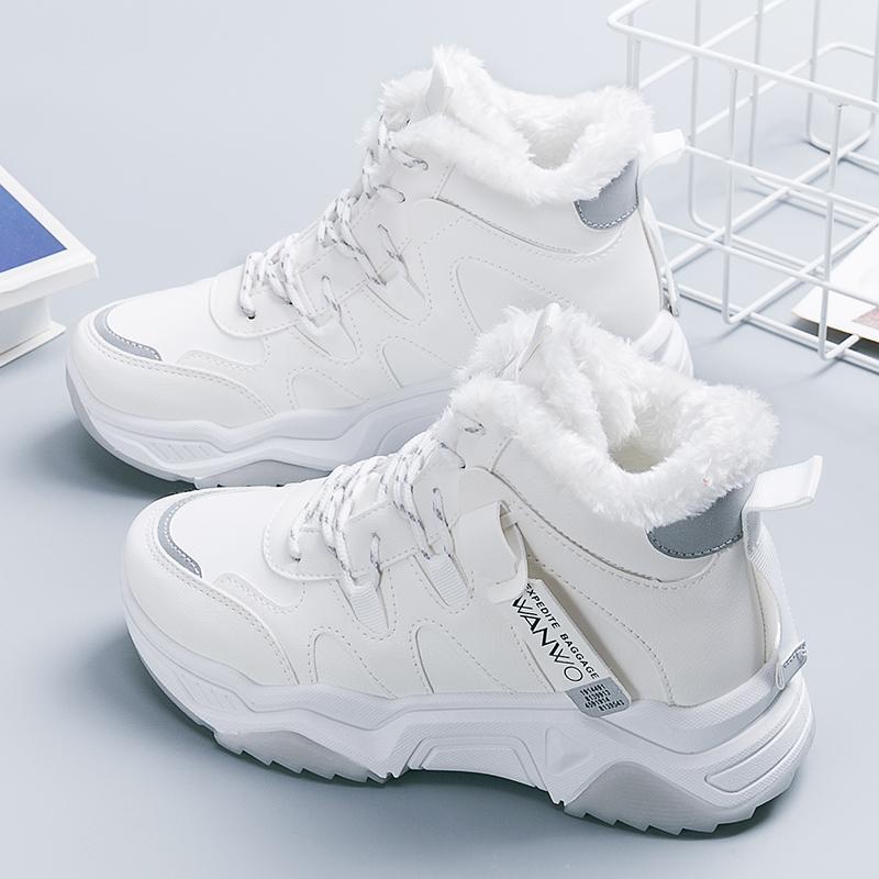 支持鸿星尔克官方旗舰店加绒加厚雪地靴秋冬季棉鞋女保暖厚底短靴
