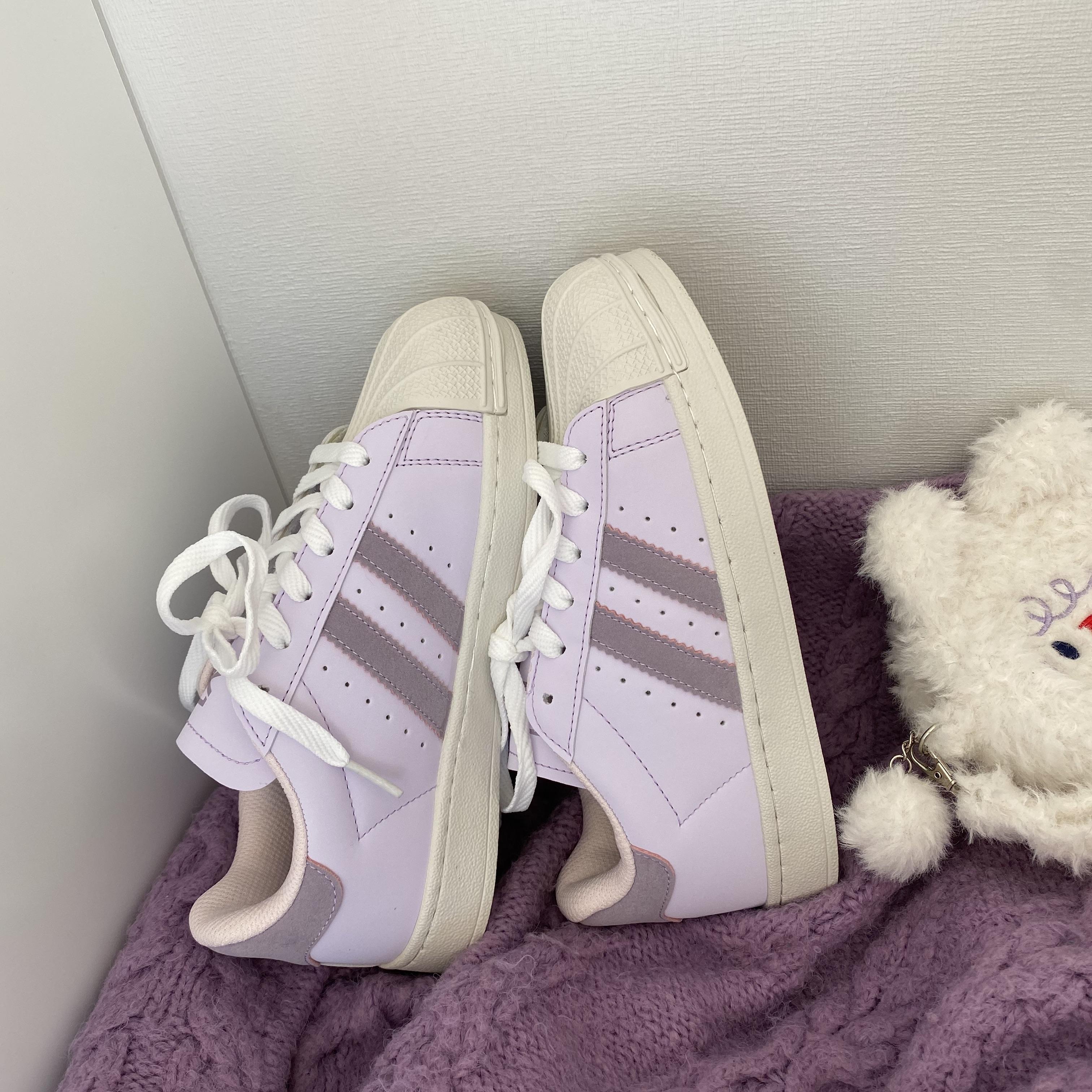 奶油紫贝壳头板鞋女学生可爱街拍2021秋冬韩版ulzzang运动休闲鞋