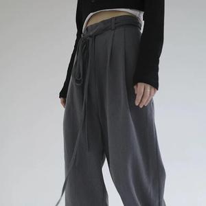 vibe风春秋季西装裤女宽松高腰显瘦阔腿裤休闲大码直筒拖地坠感裤