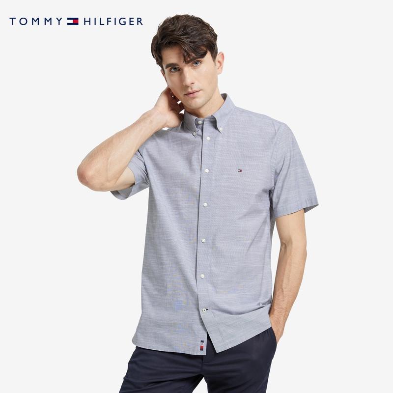 tommy男装简约通勤棉质小绣标衬衫