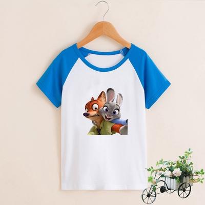 O疯狂动物城朱兔子尼克狐儿童迪子装纯棉短袖亲T恤女童男童半袖