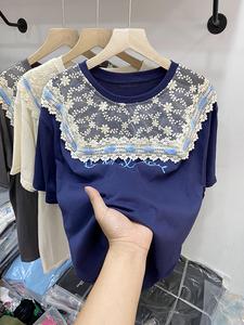 夏季新款洋气蕾丝拼接印花小众t恤