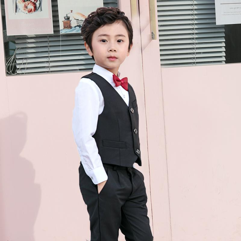 儿童西装男童帅气英伦燕尾马甲套装三件套花童男宝宝周岁生日礼服