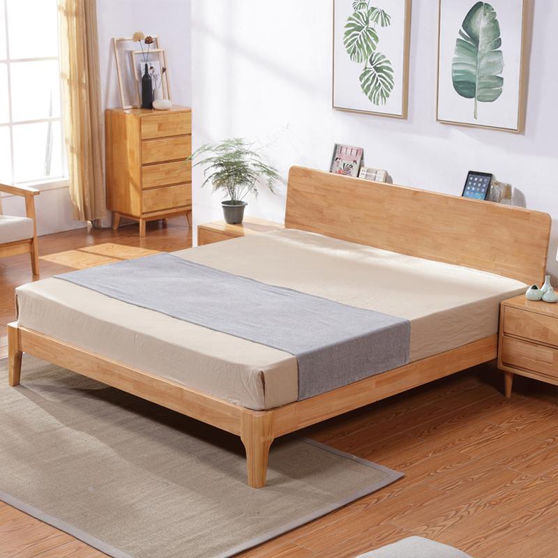 北欧白橡木床纯实木床 日式简约卧室家具双人床1.5/1.8米欧式