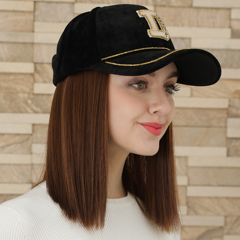 Hat fashion hat wig autumn baseball with hat and short hair