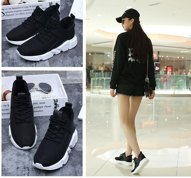 Net white bottom spring breathable leisure thick bottom canvas lovers travel shoes light sports shoes womens shoes black shoes
