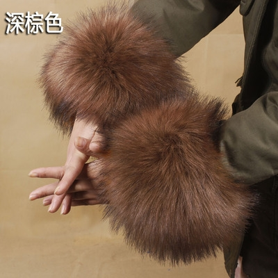 仿皮草袖口袖套手环手镯护腕毛毛手圈护袖黑色秋冬女新款衣袖。