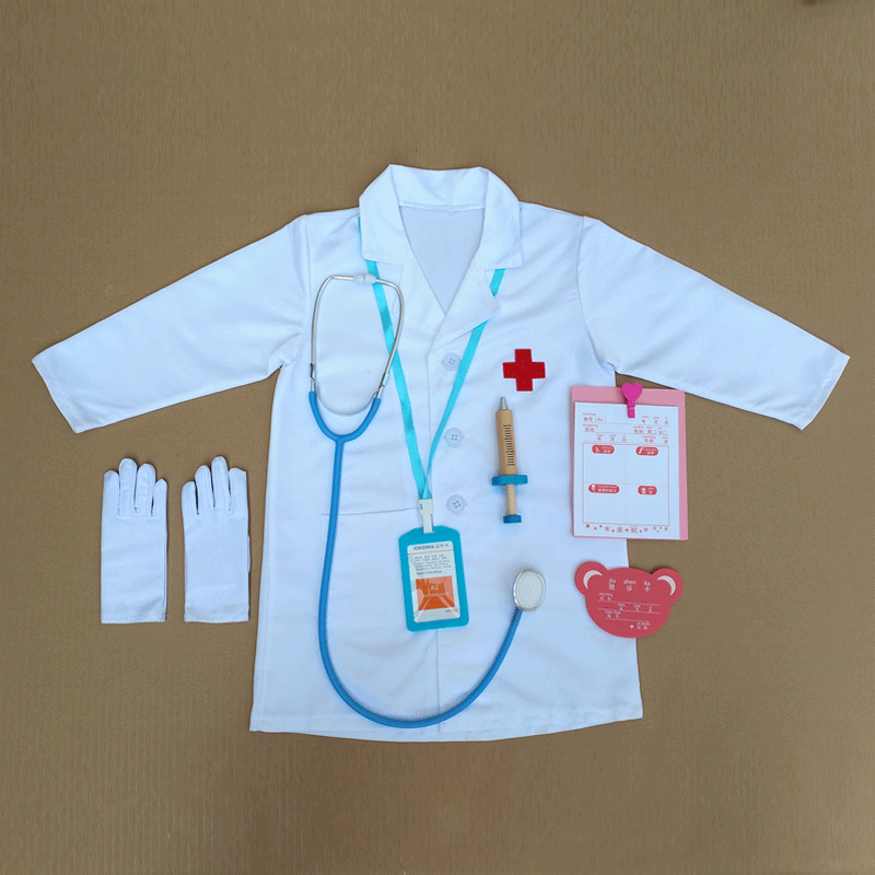 New childrens small doctor nurse clothes kindergarten professional table performance clothes house role play white coat