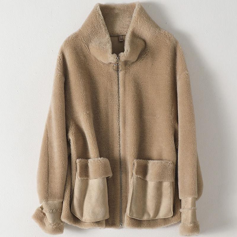 大衣秋冬新款休闲剪羊毛羊新款外套女时尚短款宽松绒皮草2020