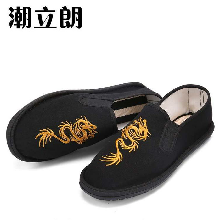 Mens and womens shoes simple pattern four seasons casual shoes fashion black mens social embroidery cloth shoes mens canvas shoes without lace up