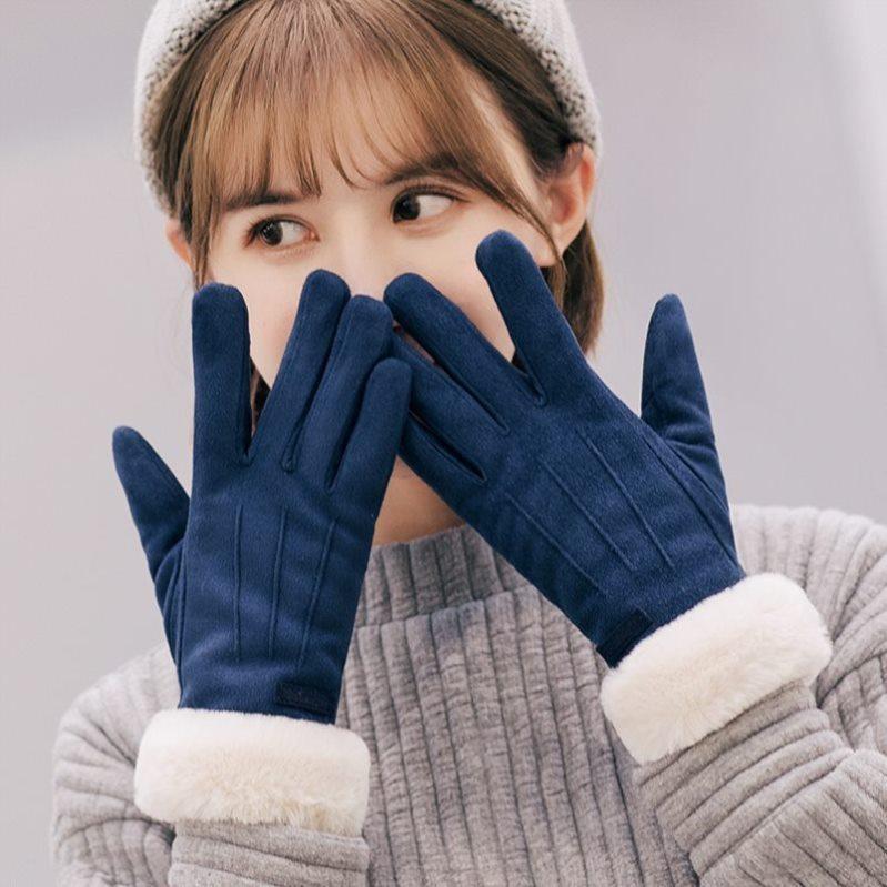 Gloves womens winter net red same Korean bicycle trend electric car waterproof suede old man simple thickening