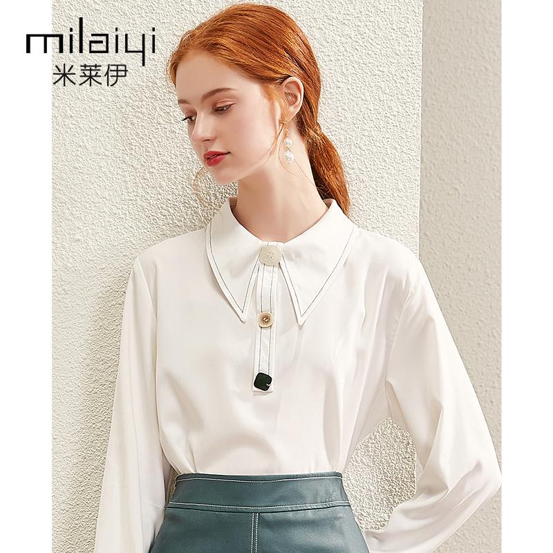 米莱伊白色衬衫春装2021新款女装长袖设计感小众娃娃领上衣雪纺衫