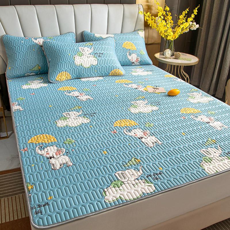 乳胶凉席三件套夏季冰丝席子1.8m床可水洗折叠1.2米1.5空调软席