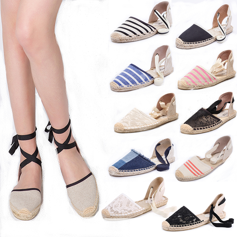 . Holiday straw fishermans shoes summer ankle strap stripe lace up street patting shoes canvas simple versatile womens sandals