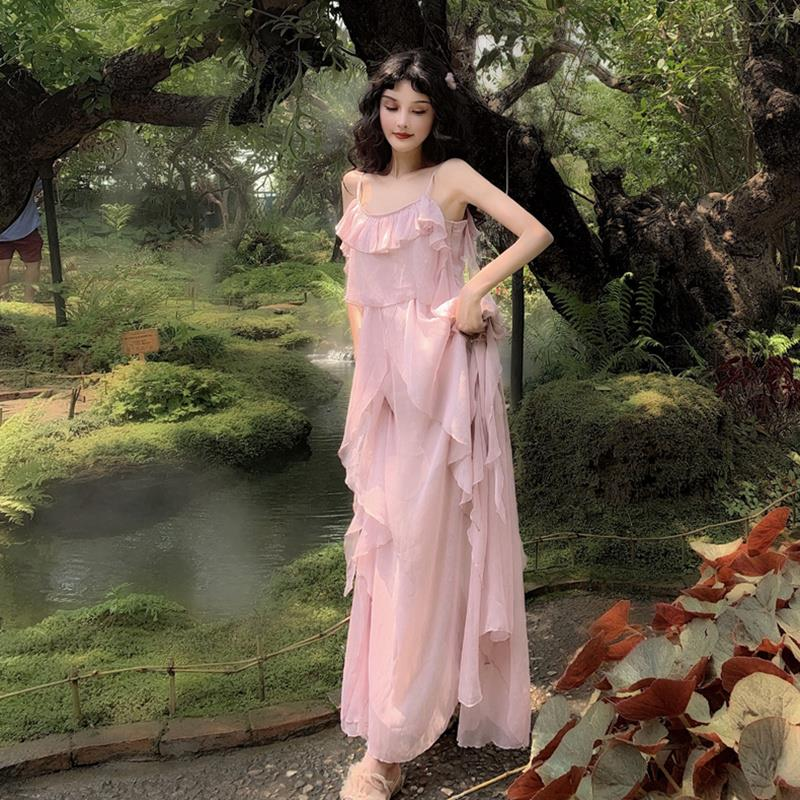 Pink chiffon long skirt womens slim and gentle vacation spring and summer dress versatile and ankle new over the knee
