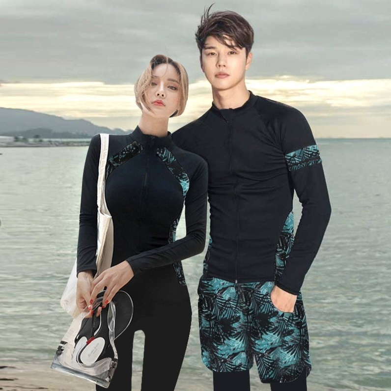 Swimsuit mens and girls large diving suit sunscreen split long sleeve quick drying swimsuit.