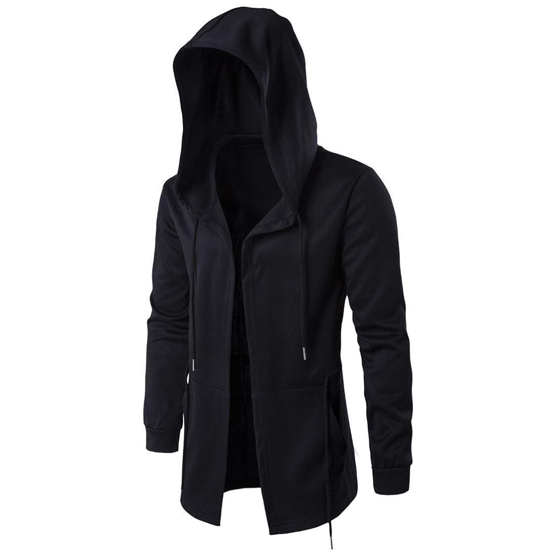 Mens trench coat mens medium length Cape wizard cloak Hooded Coat mens jacket