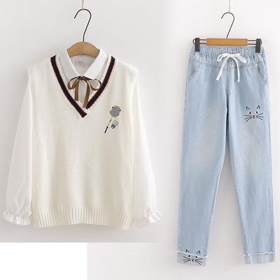 大童女装12-15岁学院风少女孩初中学生韩版时尚春季长袖两件套装