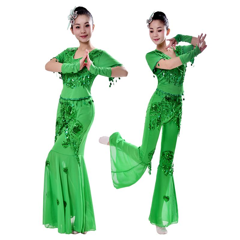 裙鱼尾舞蹈裙服孔雀成人傣族舞蹈演出葫芦丝服装民族新款服装表演