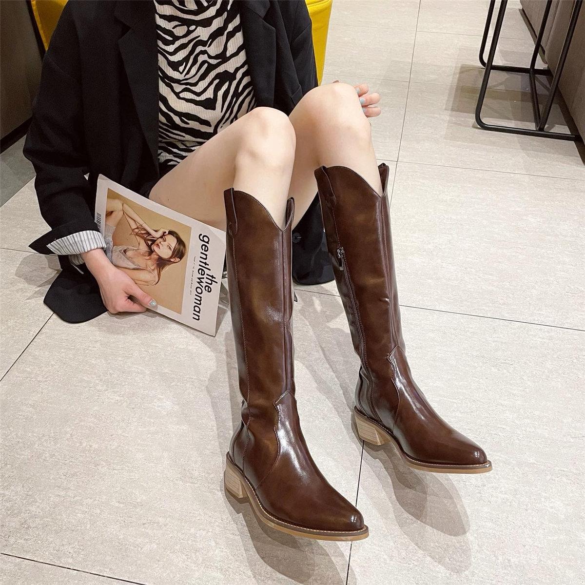「鞋阅」西部牛仔靴长靴尖头粗跟女单靴网红长筒靴不过膝骑士靴