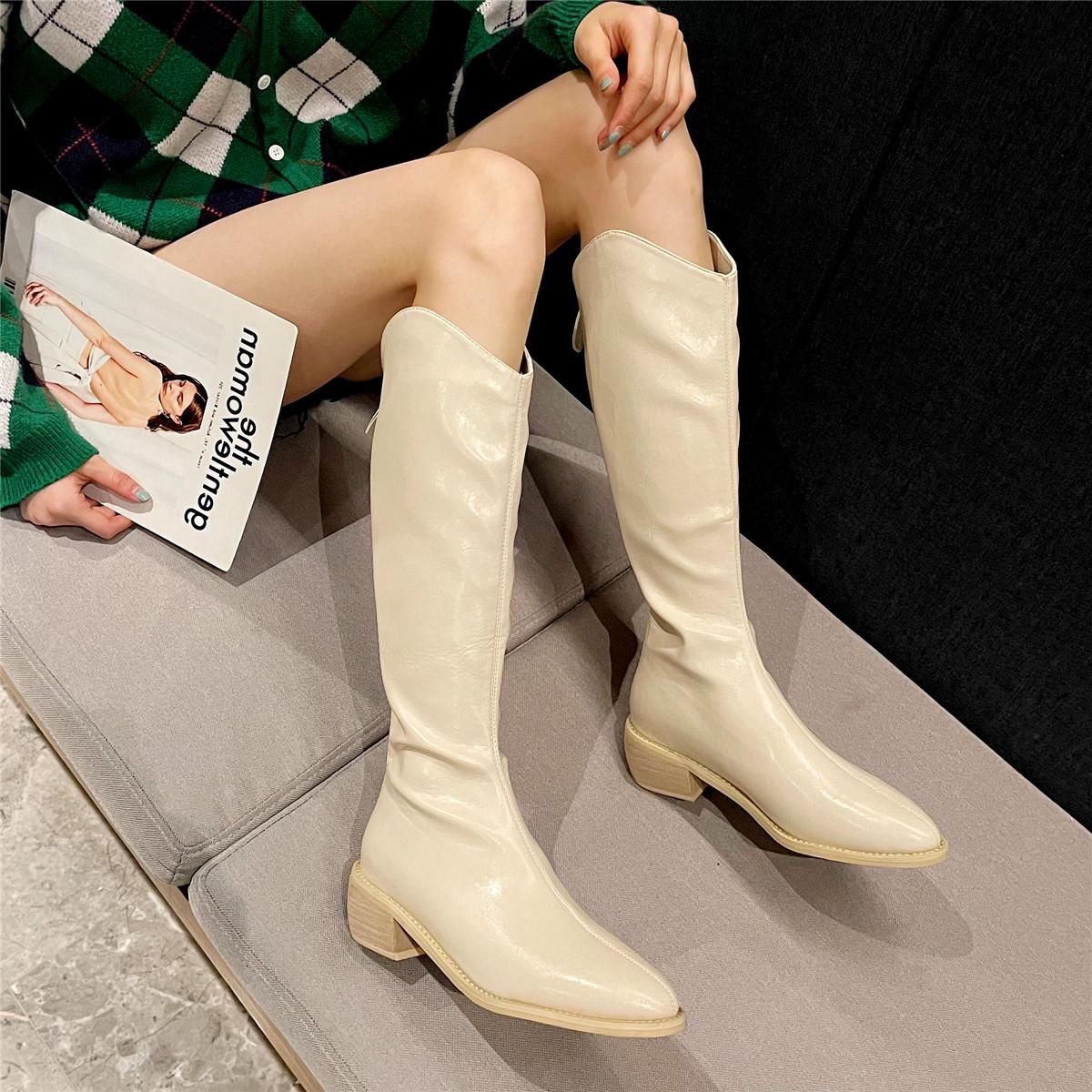 「鞋阅」尖头粗跟长靴骑士靴西部牛仔靴高筒靴子秋款中跟女单靴